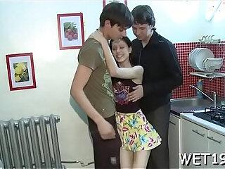 European teens arrange a hot threesome