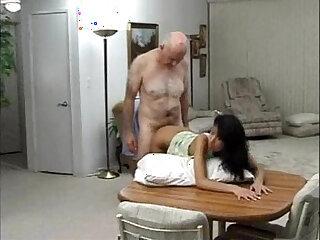 Grandpa fucking a skinny Latina beauty