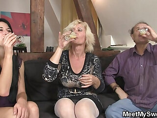 69 with his mom and riding old dads cock