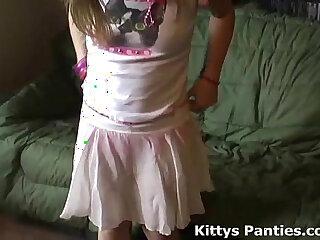 Petite latina teen Kitty in a cute little pink skirt