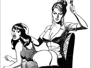 Girl girl catfight tribbing bondage spanking lesbian femdom fetish bdsm wrestling fight art