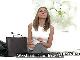 Amateur babe sucking and fucking and sucking agents dick