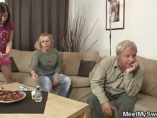 GF have fun with her BFs mom and dad