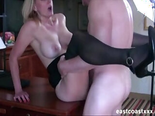 Hot MILF sucks and fucks at interview to get the job