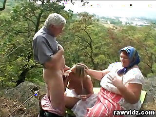 Old Couple With Hot Blonde Outdoor Fucking