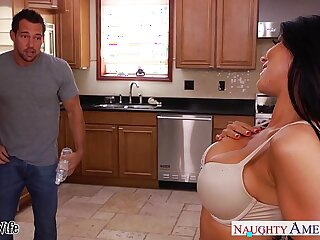 Busty brunette wife Romi Rain gets pussy nailed