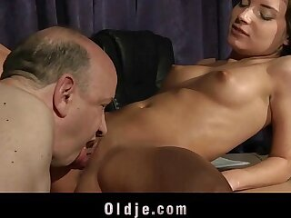 Old teacher fucking young slutty student babe