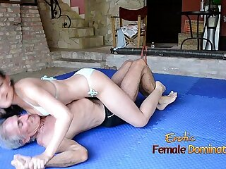 Turquoise Bikini Girl Wrestles Old Guy