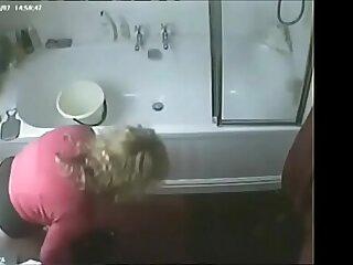 Hidden cam caught my slut masturbating in toilet