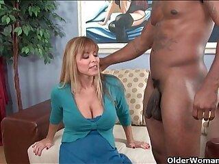 Busty milf Nicole gets cum coated