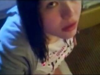 Emo girl 18 yrs sucking some Cock