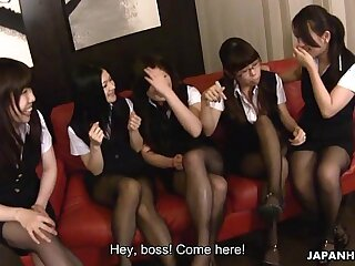 Boss has a horde of babes who pleasure him