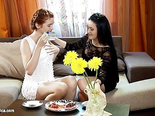 Coffeetime Tryst by Sapphic Erotica sensual lesbian sex with Agnessa Lilianna