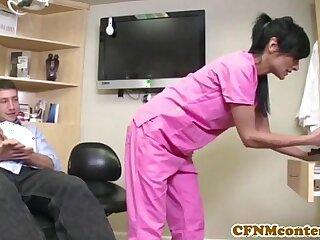 CFNM nurse Persia Pele gets facial