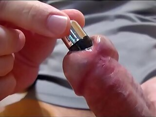 Souding dick urethra with her vibrator