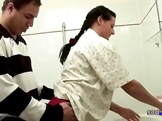 German Step Son Caught Mom in Bathroom and Seduce to Fuck