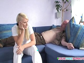 Blond Girl sucks and Fucks Best Daddy at her Place