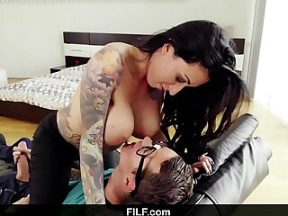 FILF Lily Lane catches Stepson jerking off to his stepmom