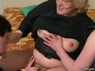 Hairy Granny gets dildoed before fucks herself with young guy