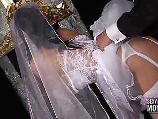 Horny bride gets a hard ass fuck