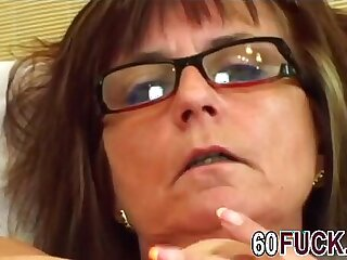 Granny with glasses fucked by younger guyer man hi