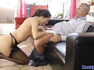 European mature fucks babe with husband